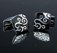 xinclubna® mode carré noir homme d'argent bouton de manchette motif floral pour les hommes (de 1 paire)