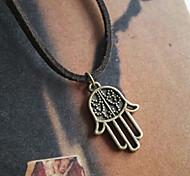 Hamsa klassischen Bronzehandform Leder Hamsa pendent Halskette (1 PC)