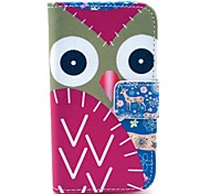 Deer and Owl Pattern PU Leather Case with Card Holder and Stand for Samsung Galaxy I8160