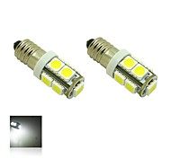 E10 2W 9X5050 SMD 6000K White Lights LED Glühbirne für DIY (DC 12V, 2-Pack)