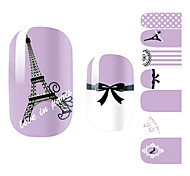 28PCS Purple Romantic Paris Design Nail Art Stickers