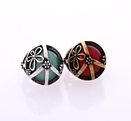 Vintage Hollow Flower Resin Gem Round Rings (Green,Red) (1 Pc)