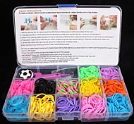 BaoGuang®Rainbow Color Loom Bands Set(1Pak Clips,1Hook,1 Looms,3pcs Pendant,1Box)