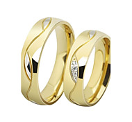 Fashion Lovers Stainless Steel 18K Gold Plated Couple Rings (2 Pcs)