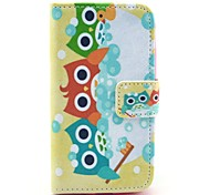 Shower Colorful Owl Pattern PU Leather Case with Card Holder and Stand for Samsung Galaxy I8160
