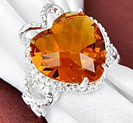 Coeur de classique Brésil Citrine pierre gemme d'anneau d'argent 1PC