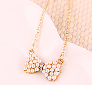 Small fresh new fashion pearl bow sweater chain necklace N500