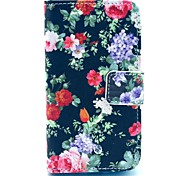 Black Rose Flower Pattern PU Leather Case with Card Holder and Stand for Samsung Galaxy I8160