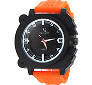 Men's Fashion Black Dial Silicone Band Quartz Wrist Watch (Assorted Colors)