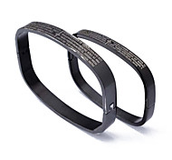 Fashion English Distinctive Oblong Couple  Black  316L Stainless Steel Bangle