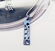Fashion Blue Vine Hollow Out Stainless Steel Pendant Necklace