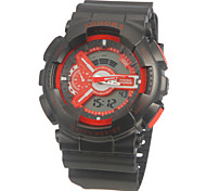 Unisex Analog-Digital Multi-Functional Red Dial Black Silicone Band Sporty Wrist Watch
