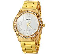 Unisex Diamond Case Gold Steel Band Quartz Wrist Watch (Assorted Colors)
