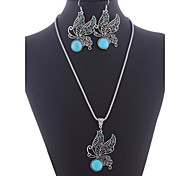 European Kallaite Diamanted With Hollow Butterfly Pandent Silver Alloy (Necklaces&Earrings&) Gemstone Jewelry Sets