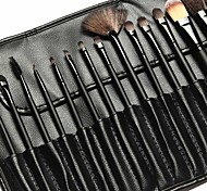 15Pcs Makeup Brush Set Synthetic Hair Black Timber Handle with Black Leather Bag