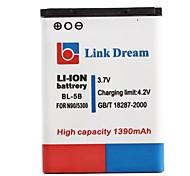 Lien Dream High Quality 3.7V 1390mAh batterie de téléphone portable pour Nokia N90 3230 5300 5070 6121 6080 (BL-5B)