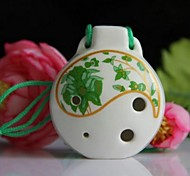 Chinese Traditional Musical Xun Alto C Glaze Green 6 Hole Ceramic Ocarina