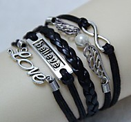 Vintage Angel Wings believe in love eight characters 18cm Unisex  Leather Wrap Bracelet(1 Pc)