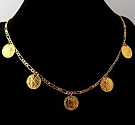 U7® Coin Necklace 18K Real Gold Plated Charms Choker Figaro Chain with Coins for Women 55CM