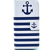 The Ship Anchor with Stripes Pattern PU Leather Full Body case for iPhone 5/5S