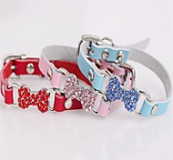 Colorful Diamond Bone Shape PU Leather Collars for Pets Dogs (Blue,Red,Pink,Size XXS/XS/S)