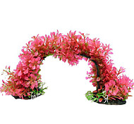 Plastic Pink Plant Variable Shape Decoration Ornament for Aquarium