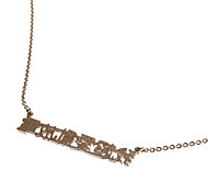 """Classic Gold Plated Chinese Sentence """"I Love Flirting Around"""" Pendent Necklace(1 Pc)"""