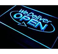 i028 OPEN We Deliver Services Cafe Neon Light Sign
