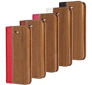 Wood Grain Pattern Hard Case with Magnetic Snap and Card Slot for iPhone 4/4S (Assorted Colors)