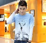 Los hombres de cuello redondo delgado del contraste de manga larga Casual Color de T-shirts (Acc no incluido)