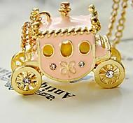 Retro Sweet Pink Pumpkin Car Diamond Sweater Chain Pendant  Necklace