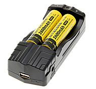 NITECORE NL186 2600mAh 18650 Battery (2pcs) + TrustFire TR-007 Battery Charger+ 2pcs/Lot Hard Plastic Battery Storage Box