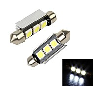 Merdia 3W 36LM 3SMD LED White Light Festoon for Decoding Car Brake Light / Reading Light (Pair/12V)