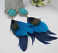 Mode Blue Resin Feder Ohrhänger (1 Paar)