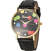 Women's Colorful Dial PU Band Quartz Wrist Watch (Assorted Colors)