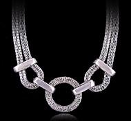 (1 Pc) Vintage (Raue Kreis Kette) Silber-Legierung Kettenhalsketten (Silber)
