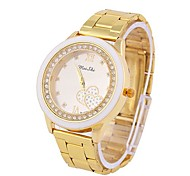 Coway Delicate Unisex's Round Diamond Dial Golden Alloy Band Quartz Analog Waterproof Wrist Watch