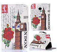 Big Ben and Red Flowers Design PU Leather and Plastic Back Cover Full Body Case for Motorola MOTO E