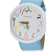 Women's Cute Pencil Pointer Round Dial Pu Band Quartz Analog Wrist Watch (Assorted Colors)