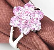 Klassisches Zwei-Farben-Zirkonia Edelstein Silber Blumen-Form-Ring 1Pc