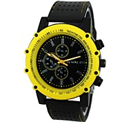 Men's Colorful Case Black Rubber Band Quartz Wrist Watch (Assorted Colors)