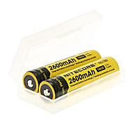 NITECORE NL186 2600mAh 18650 Battery (2pcs) + 2pcs/Lot Hard Plastic Battery Storage Box