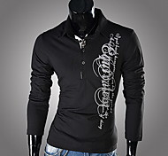 Men's Long Sleeve T-Shirt , Polyester Casual
