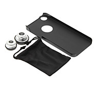iPhone 5/S Cell Phone Case and Fish Eye Wide Macro Silver Photo Lens in Set