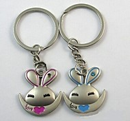 (A pair)Lovely Rabbit Interesting High-grade Stainless Steel Keychain Symbol of Love