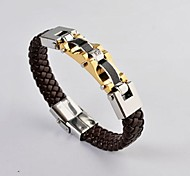 Fashion Men's Adjustable Gold Plated Stainless Steel Weave Leather Bracelet