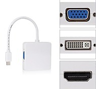 Quare Mini DP Displayport Thunderbolt to DVI VGA HDMI HDTV Adapter 3 in 1 for Apple MacBook Air Pro iMac