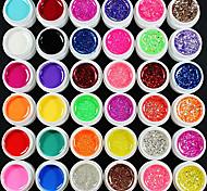 37CS Mixs colore UV Color Gel entro 12 Pure +12 Glitter Hexagon sonore +12 Glitter Powder + pulitrice più (colore casuale)