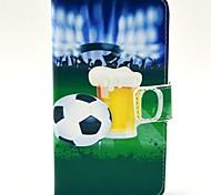 Пиво и футбол шаблон PU кожаный жесткий чехол с подставкой и Гнезда для платы для HTC Desire 310