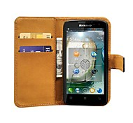 Black Genuine Leather Phone Bag Case for Lenovo A820,Stand Design with 2 Card Holders
